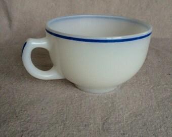 Vintage Unmarked Milk Glass Teacup with Blue Rim