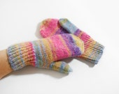 Hand Knitted Mittens - Pink, Yellow, Blue, Size Large