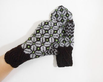 Hand Knitted Mittens - Dark Brown and Gray, Size Large
