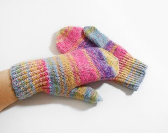 Hand Knitted Mohair Mittens - Pink, Yellow, Blue, Purple, Size Large