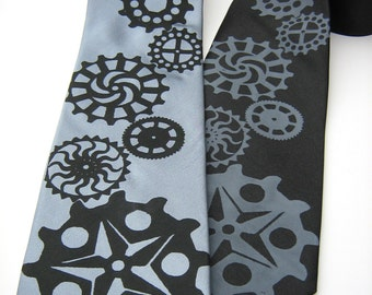 Gear silkscreen neckties. Microfiber screen printed Cogs tie.