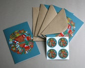 Coyolxauhqui Notecard Set- Set of 4 with matching stickers