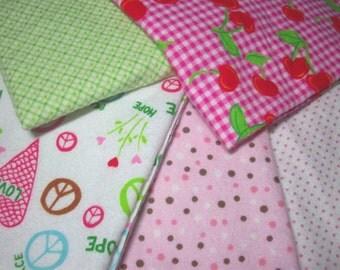 5 Piece Fat Quarter 100% Flannel Cotton Print Fabric - #1