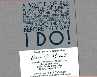 Stock the Bar Invitation - Wedding/Bridal Colorblock Invitation | Engagement/Housewarming Printable Invitation | Item BR216