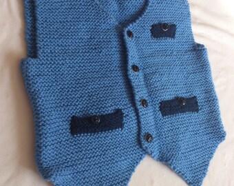 Knitting Baby blue Vest / Boy Baby Vest / Handmade Vest /  Baby Blue  Color Vest