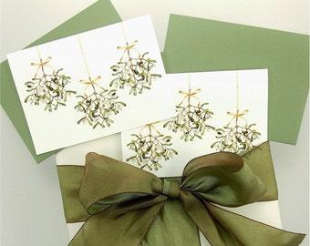 mistletoe 4 bar card set Chritsmas stocking stuffer ivy green