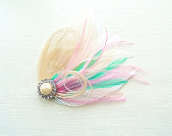 SIDNEY in Aqua Green, Bubble Gum Pink, White, and Ivory Peacock Feather Fascinator, Feather Hair Clip, Bridal Hair Piece