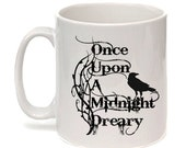 """Edgar Allan Poe Mug, The Raven, """"Once upon a midnight dreary"""",  Literary Quote, Book Mug, UK"""
