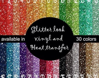 "FAUX Glitter ""flitter"" look printed vinyl 30 colors available... You choose 6x6, 8.5x11, 12x12, 12x24 and 12x36"