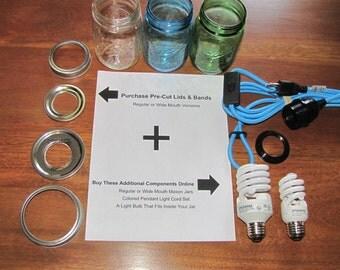 """DIY Mason Jar Hanging Chandelier Pendant Swag Light Kit LIDS (Reg or Wide Lids) 1-3/8"""" Hole or 1-1/2"""" Hole"""