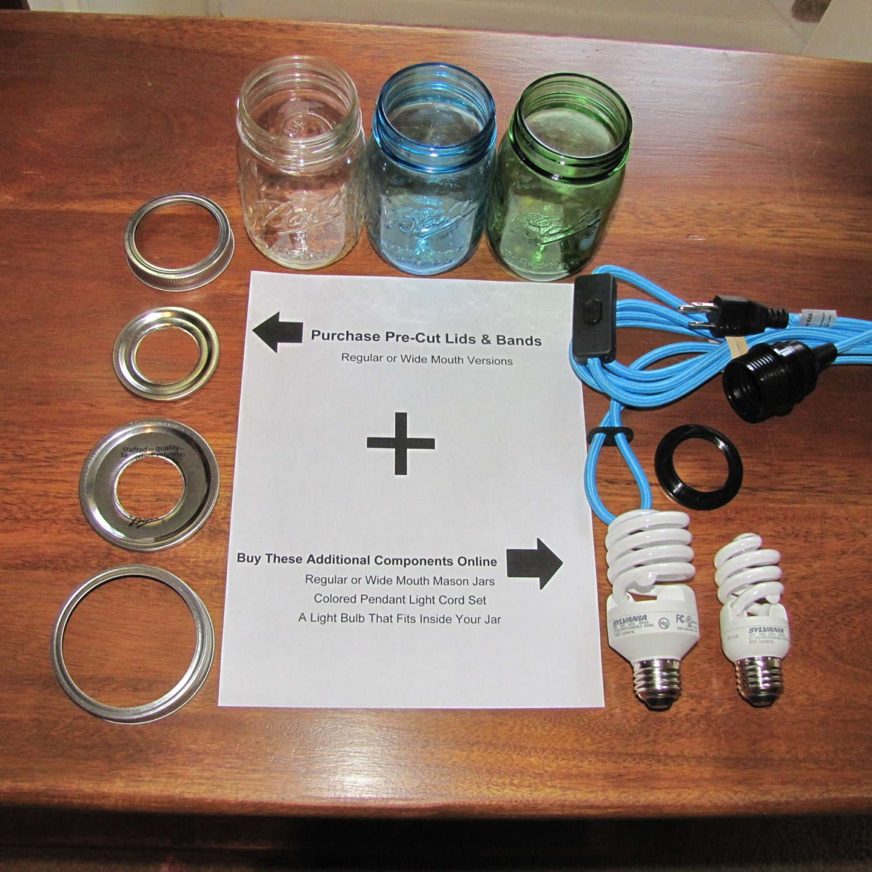 Diy mason jar hanging chandelier pendant swag light kit lids - Diy chandelier kit ...