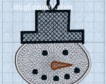 Free Standing Lace Snowman Ornament Digital Embroidery File