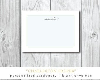 Charleston Proper | SET of 10 Flat Printed Stationery with Blank Envelopes | Printed by Darby Cards