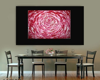 Large Abstract Painting Original Acrylic Oil Painting Canvas Art  Sale Red Pink White Rose Flower 36x24 Palette Knife Texture Oil J.LEIGH