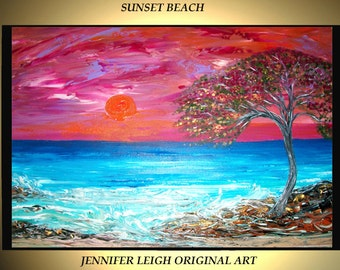 "Original Large Abstract Painting Modern Contemporary Canvas Art Sunset Beach Ocean 36x24"" Palette Knife Texture Oil J.LEIGH"