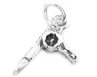 Sterling Silver Small Blow Dryer Charm (3d Charm)