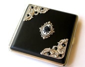 Cigarette Case Black Rose Cameo or Black Onyx Gem Case Vintage Style Smokers Accessories Victorian Gothic Card Case