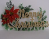 Vintage Glittery Merry Christmas Sign - Wall hanging- plastic