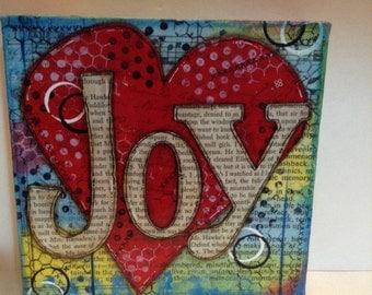 Joy, 6x6 Mixed Media Canvas