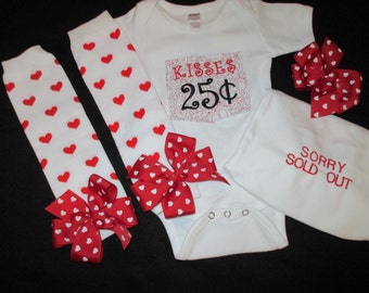 Ready to Ship Valentine's Day Kisses 25 Cents Embroidered Onesie Bodysuit Outfit with Leg Warmers, Hairbow and Headband Size 3- 6 months