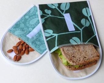 Reusable Snack Bag, Organic Cotton Lunchbag, Sandwich Bag Set, Green Handprinted Fabric