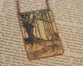 Red Riding Hood necklace Arthur Rackham literature literary mixed media jewelry
