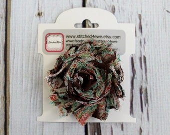 CLEARANCE Ready to Ship Brown Paisley Bow, Shabby Chic Bow, Paisley Girls Hair Clip, Baby Hair Clip