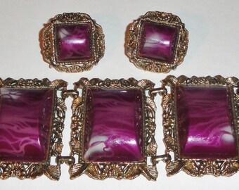 Unsigned SELRO SELINI Chunky Purple Marbled Marble Swirl Thermoset Leaf Leaves Panel Bracelet Vintage Jewelry Set