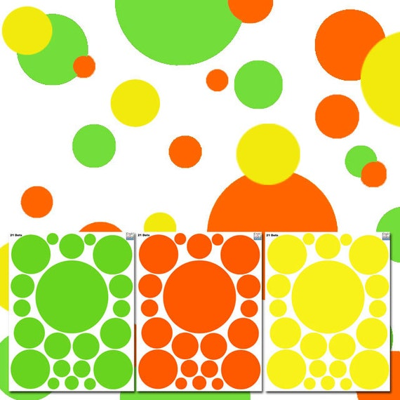 Bright Colored Polka Dot Wall Decals
