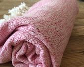 Turkish Towel Bamboo Peshtemal Towel Sprinkled Peshtemal Fuchsia Pure Soft