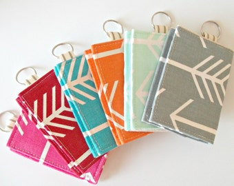 Arrow Business Card Holder - Velcro Keychain Wallet - Arrow Fabric Wallet