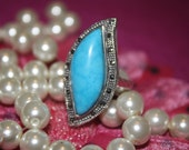 Turquoise Sterling Silver Gemstone Ring Size 8