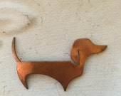 Vintage Copper Dachshund Stamping. (4)  Dog Stampings. Copper Dog Findings.