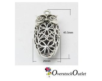 One 3D Flower Filigree Bullet Shaped Owl Pendant BK410