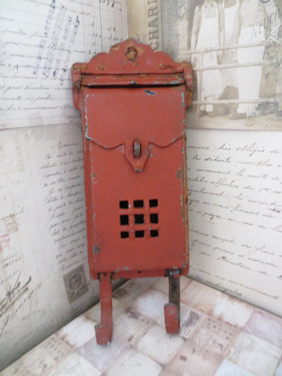 Wall Decor Mailbox : Vintage cast iron mailbox red wall decor by