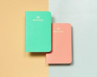 Plain Set I (Plain Coral, Plain Mint) Pocket Notebooks, Set of 2
