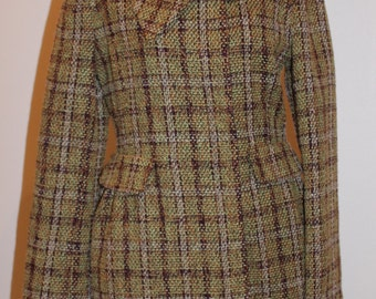 Vintage 90's Heavy Plaid Patterned Coat NWT Beth Bowley Size 6