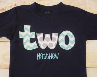 Chevron and Polka Dot TWO Birthday Set for Boys 2nd Birthday - Shirt or Bodysuit