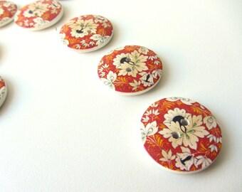 Autumn orange flowers wooden button 30 mm set of ten buttons nr. 51