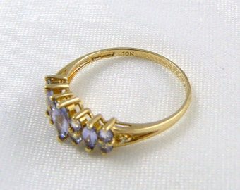 Tanzanite Ring, 10K Gold Ring, Chinese Export Vintage Jewelry SPRING SALE