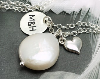 Personalized necklace for new mom or couples, Hand stamped, Two initials, Coin pearl, Heart charm, Best friends