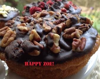 Vegan Gluten free Vanilla Pecan Chocolate Love  donuts,  love,healthy,gluten free ingredients,dessert,wedding,birthday.