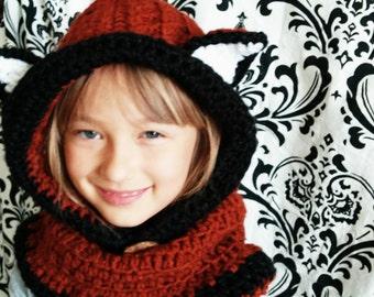 Fox Hooded Crocheted Cowl