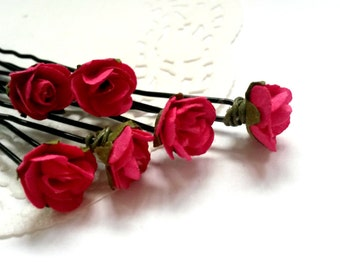 Dark Berry Paper Rose Hair Sticks/ U-Pins. Bridal Hair Accessory. Set of (6) Wedding Hair Accessories. Bridal Gift