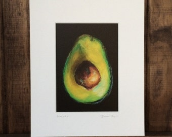 Avocado--Matted Print of an Original Painting of an Avocado with Pit