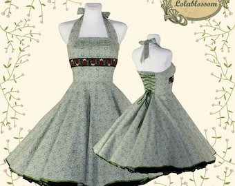 50's vintage dress Tailor Made green eco friendly cotton with roses print and jaquard rose ribbon