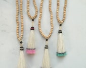 Neon Horsehair Tassels and Wood Necklaces