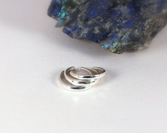 3 Cuff Earring Set: 1.75mm Half Round Polished and Hammered Silver Ear Cuffs, Sterling Silver, Made to Order