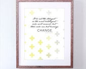 Inspirational Art Print - Modern Grey and Yellow Art - Inspirational Quote from Charles Darwin