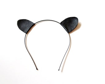 Black  Cat Ear Headband Leather Ear
